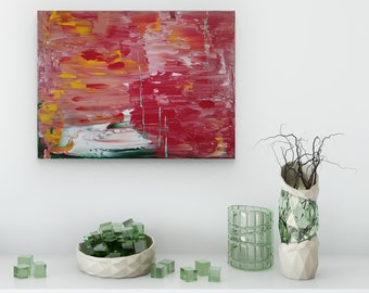 Textured Acrylic abstract wall art by Margaret Lipsey. Colorful and expressive artwork for your home or office. - In the Garden