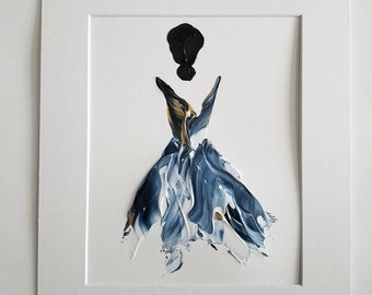 Woman in Blue No. 1 Women of Strength series - on paper