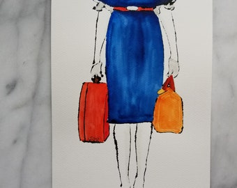 Fashion inspired watercolor art by Margaret Lipsey. Beautiful Minimal wall art for your home or office. Travelling light number 1