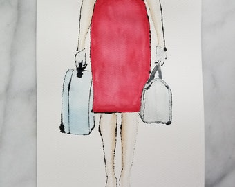 Fashion inspired watercolor art by Margaret Lipsey. Beautiful Minimal wall art for your home or office. Travelling light number 4