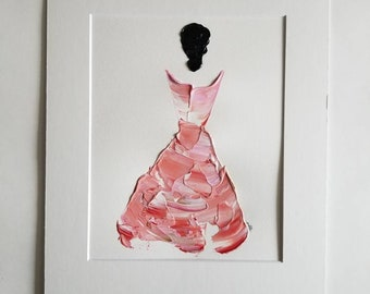 Woman in Coral No. 3 Women of Strength series - on paper