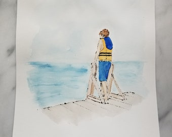Original watercolor wall art by Margaret Lipsey. Expressive minimal artwork for your home or office. Lake Days 1