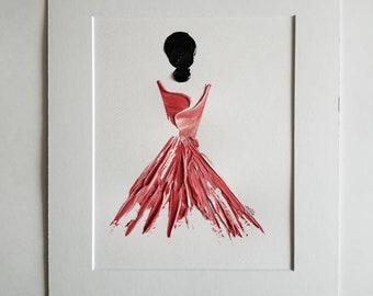 Woman in Red No. 11 Women of Strength series - on paper
