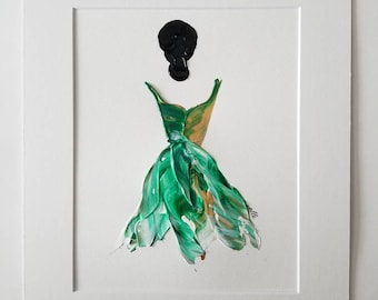 Woman in Green No. 1 Women of Strength series - on paper
