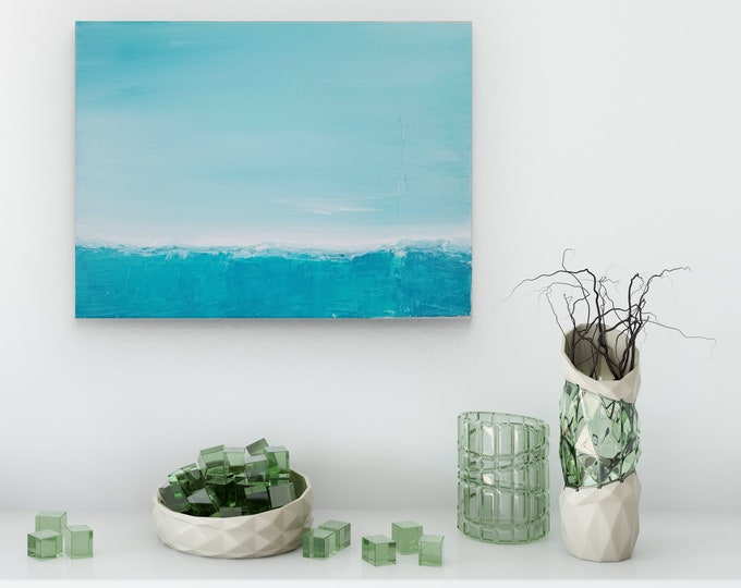 Textured Acrylic abstract wall art by Margaret Lipsey. Colorful and expressive artwork for your home or office. - Serene Skies