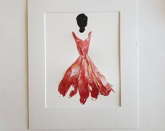 Woman in Red No. 8 Women of Strength series - on paper
