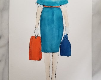 Fashion inspired watercolor art by Margaret Lipsey. Beautiful and minimal wall art for your home or office. Travelling Light No. 5