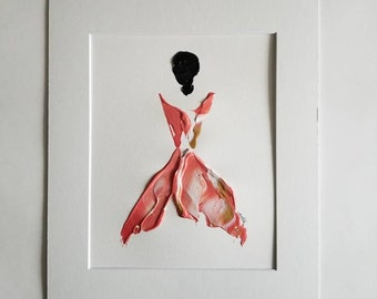 Woman in Coral No. 6 Women of Strength series - on paper