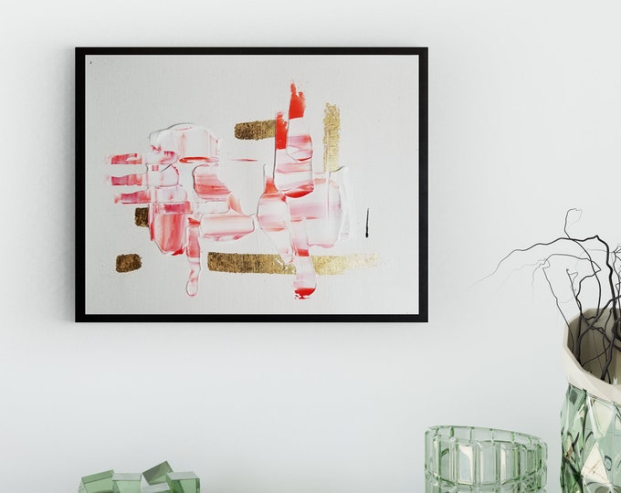 Original Acrylic abstract wall art by Margaret Lipsey. Expressive minimal artwork for your home or office. -  Warm and Cold