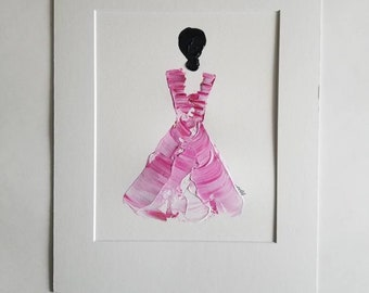 Woman in Pink No. 1 Women of Strength series - on paper