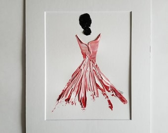Woman in Red No. 9 Women of Strength series - on paper