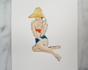 Fashion inspired watercolor art by Margaret Lipsey. Beautiful and minimal wall art for your home or office. Sunny Days 1