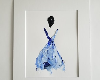 Woman in Blue No. 5 Women of Strength series - on paper