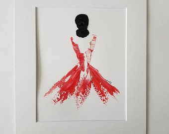 Woman in Coral No. 1 Women of Strength series - on paper