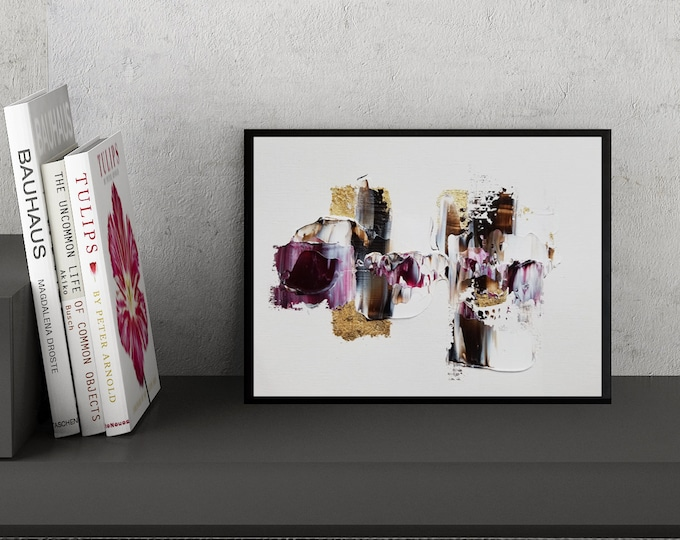 Original Acrylic abstract wall art by Margaret Lipsey. Expressive minimal artwork for your home or office. -  Petals and Stones