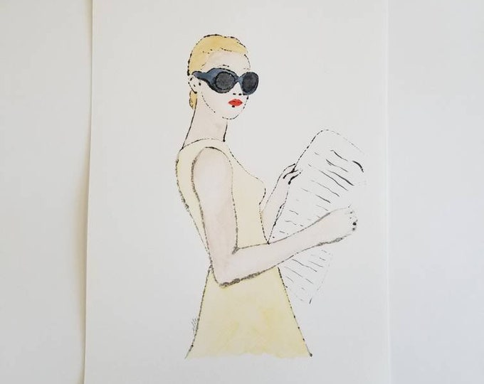 Light Reading 7 - Fashion inspired watercolor art by Margaret Lipsey. Beautiful Minimal wall art for your home or office.