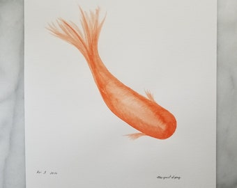 Original watercolor wall art by Margaret Lipsey. Expressive minimal artwork for your home or office. Koi 3