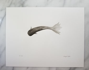 Original watercolor wall art by Margaret Lipsey. Expressive minimal artwork for your home or office. Noir