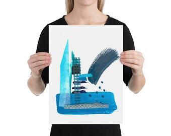 Blue  Collage Print 1