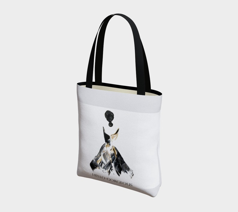 Gift for Mom Gorgeous in Black Reusable Tote Bag Shopping Bag