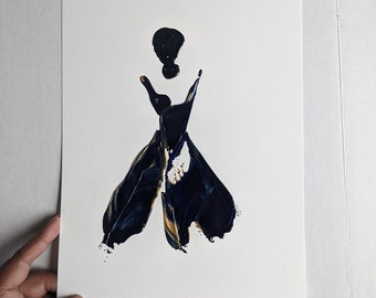 Woman in Black and White Women of Strength series - on paper
