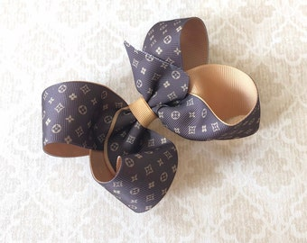 917ace756f11 LV inspired boutique bow- Lv inspired hairbow- Louis Vuitton inspired baby  headband- Designer inspired hair bow- Designer inspired headband-