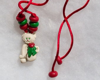 White Christmas Kitty Necklace
