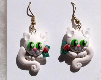 White Christmas Kitty Earrings