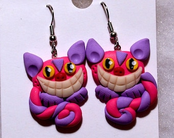 Cheshire Cat Earrings with Glow in the Dark Smile