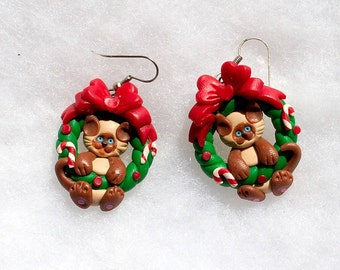 Red Bow Christmas Kitty Earrings