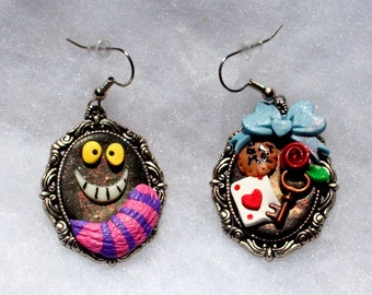 Alice in Wonderland and the Cheshire Cat Earrings