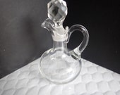Clear Crystal Glass 5 3 4 quot Cruet Oil Vinegar Pitcher Crystal Stopper
