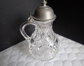 Clear Crystal Heavy Heart Cut Glass 5 1 2 quot Cruet Oil Vinegar Pitcher Metal Lid
