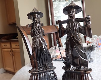 """2 (Two) Asian Carved Wood Male and Female 12"""" X 4 1/2"""" Statues Some Damage"""