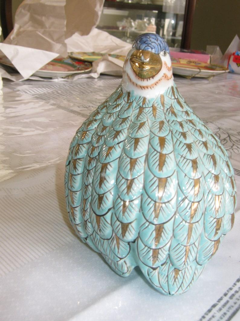 Ceramic Aqua Teal Gilded Partridge Quail with Blue Head and Gold Beak 5 x 5