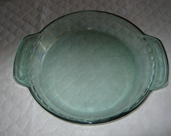 """Crystal Green by Anchor Hocking Ovenware 9"""" 1 QT Deep Dish Pie Plate #1075"""