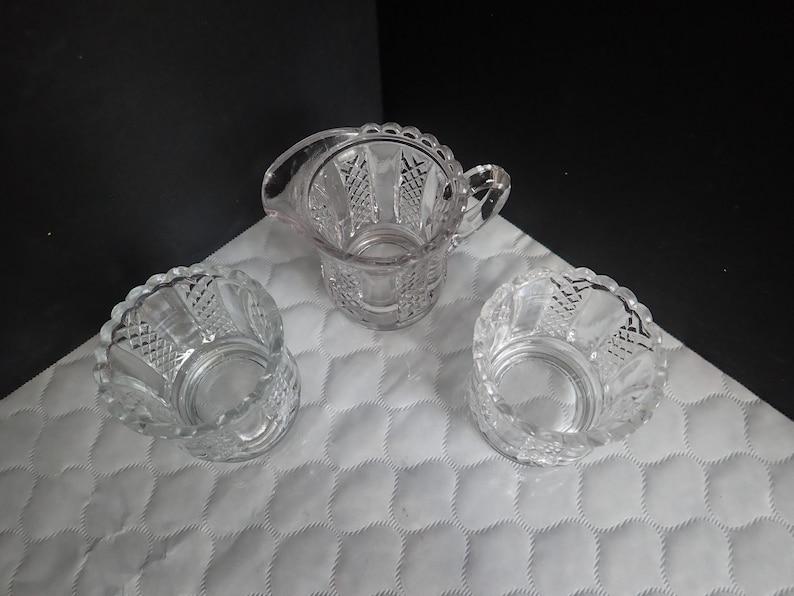Crystal Glass 2 Two 2 14 Sugar Bowls and 2 12 Creamer