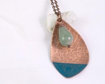 Asymmetric Copper & Green Bead Necklace, Long Beaded Pendant Necklace, Copper Pendant, Long Pendant Necklace, Teardrop shaped