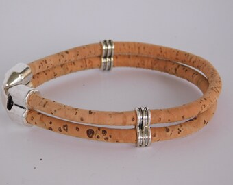 Cork Bracelet, natural  dual cord cork bracelet, friends gift, hinged clasp closure, unique gift, Minimalist jewelry