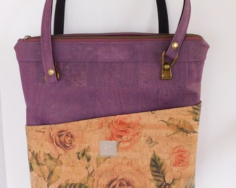 """Cork Purse  """"Blue Moon Rose"""" inspired ladies purse, natural and purple cork shoulder bag, large purse a gift for mom or sister, ecofriendly"""