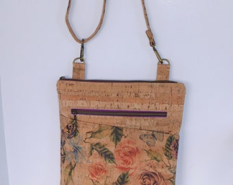"""Concealed Carry Cork Purse is """"Tea Rose"""" inspired ladies crossbody purse, natural & rose printed cork a convertible backpack, eco-friendly"""