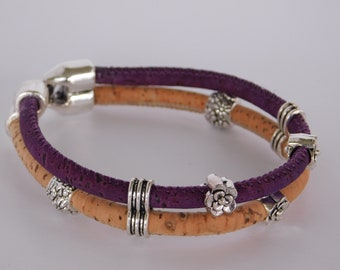 Double cork flower Bracelet, natural and purple corded bracelet with flower beads, natural wood jewelry, friends' gift purple and beige
