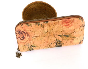 Rose Cork Zip Around Wallet  Ladies wallet  classic billfold a unique gift for her,  gift for mom  Large wallet