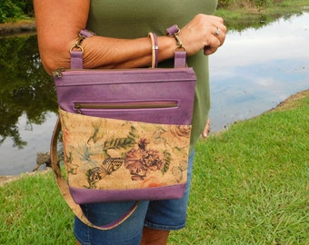 """Concealed Carry Purse Cork Rose Purse for women  Purple flowers and butterflies, """"Blue Girl Rose Purse"""" crossbody bag, wood gift ecofriendly"""
