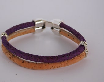 Two-Tone Cork Bracelet, natural and purple corded bracelet, Minimalist friends gift, hinged clasp closure, eco friendly gift, wood jewelry