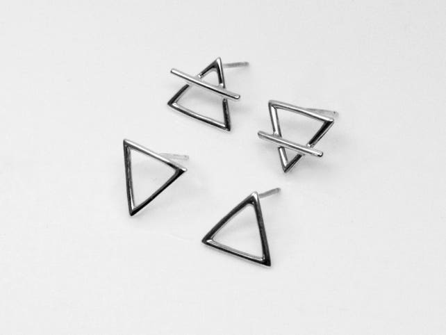 Alchemy Symbol Studs Sterling Silver Triangle Earrings Etsy