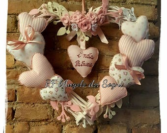 Garland birth / infant garland / Birth wishes / wooden and cloth hearts