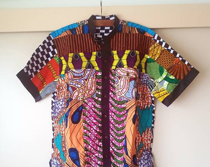 XL. Beautiful african print unique shirt for men. Best quality. Waxprint cotton fabric. Handmade in Ghana.