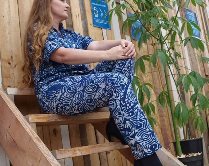 L, XL, 2XL. Organic cotton trousers. Handmade unisex. Authentic batik. Boho trousers. Made in Africa.