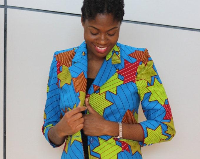 L. African print blazer jacket. Ankara fabric. Wax africain. Made in Ghana.